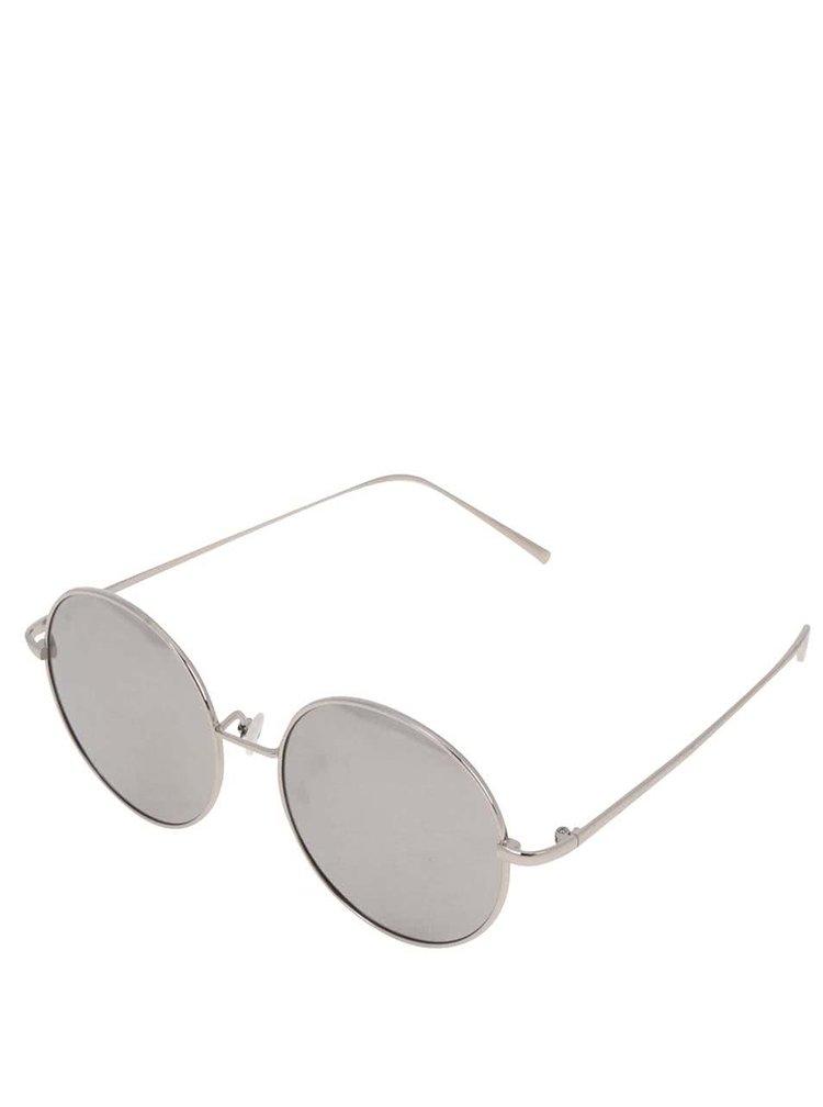 Kulaté sluneční brýle s obroučkami ve sříbrné barvě Haily´s Trisha