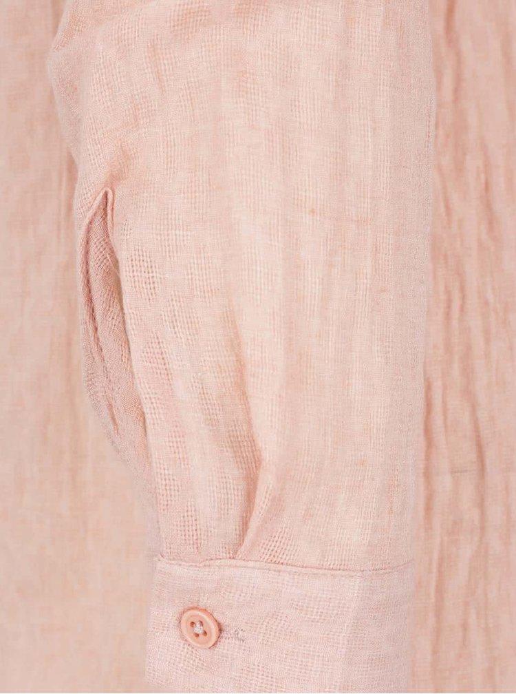 Camasa roz somon VERO MODA Jaquari cu volanas decorativ