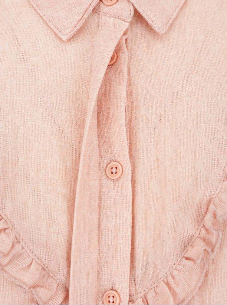 Cămașă roz somon VERO MODA Jaquari cu volănaș decorativ