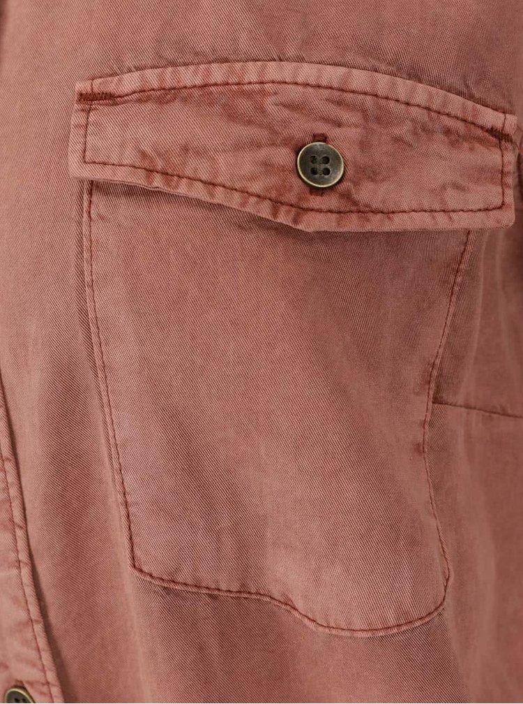 Cihlové košilové šaty s páskem VERO MODA Zoe