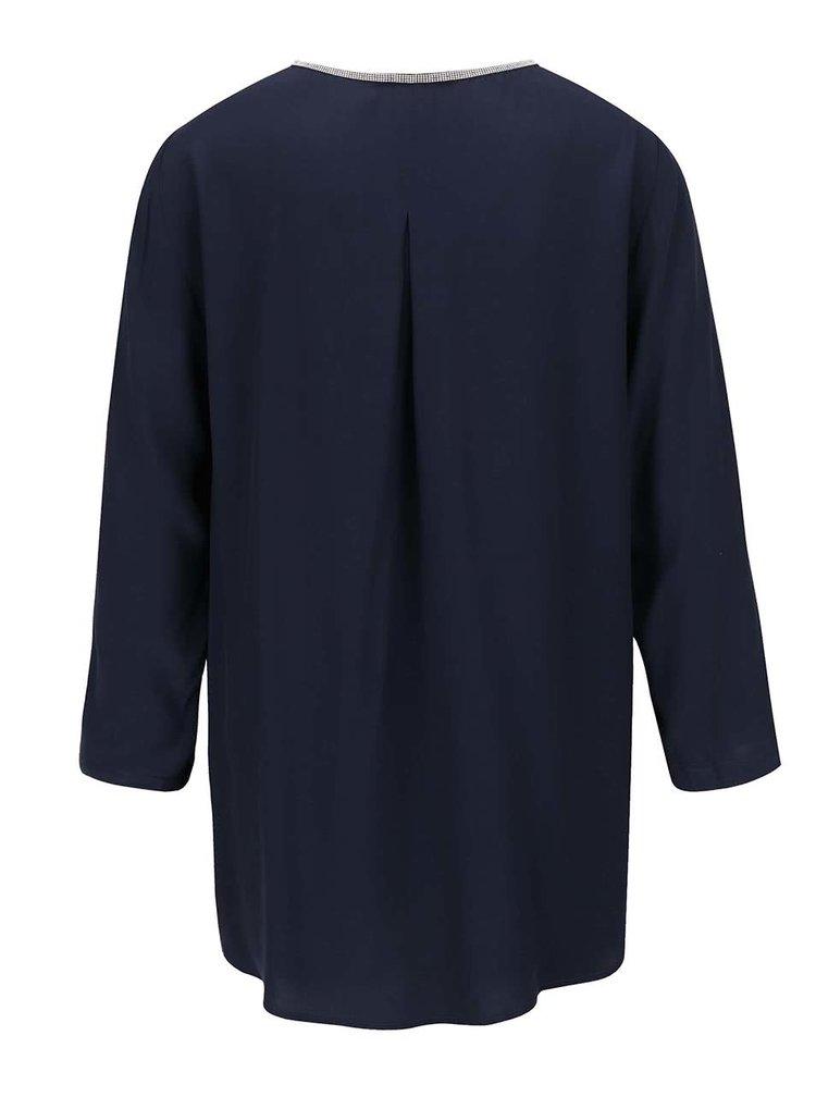 Bluză bleumarin Gina Laura cu aplicație metalică argintie