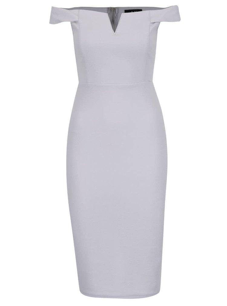 Šedé šaty s odhalenými rameny AX Paris