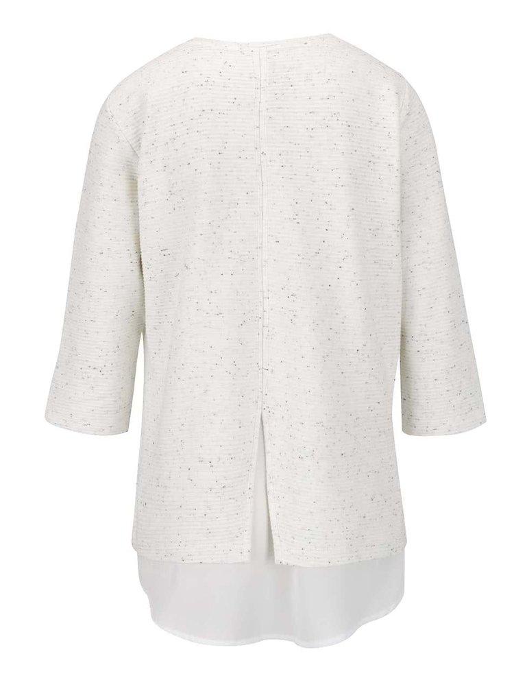 Bluza crem melanj Gina Laura cu aplicatie din voal