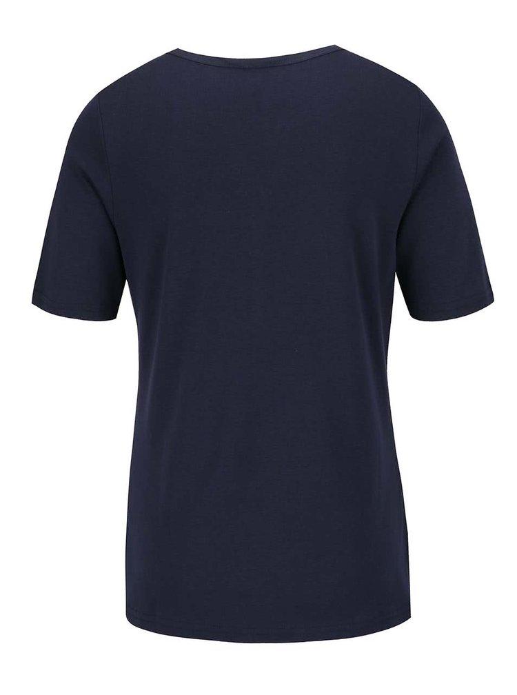 Tmavě modré tričko s knoflíky v dekoltu Gina Laura