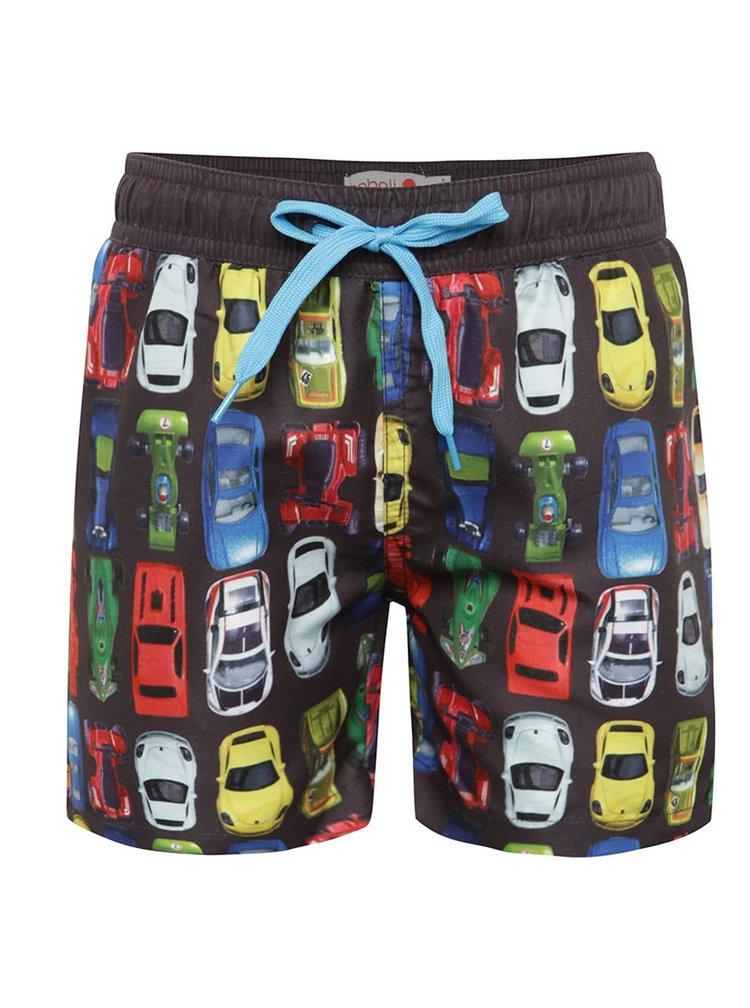 Pantaloni scurți negri de baie Bóboli cu model pentru băieți