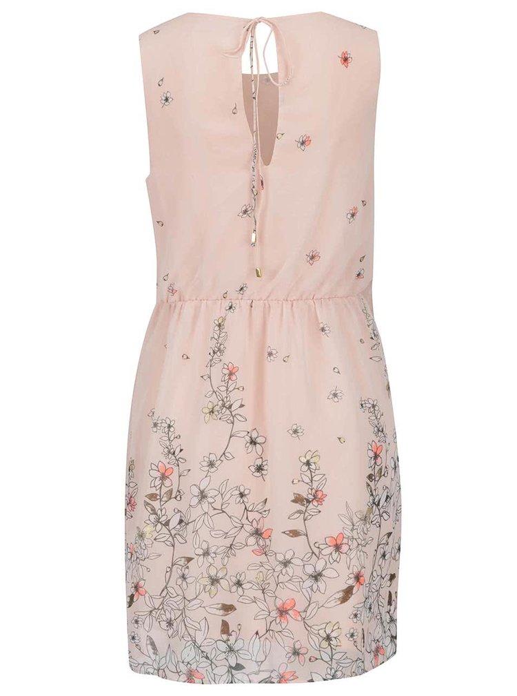 Světle růžové květované šaty bez rukávů VERO MODA Lea