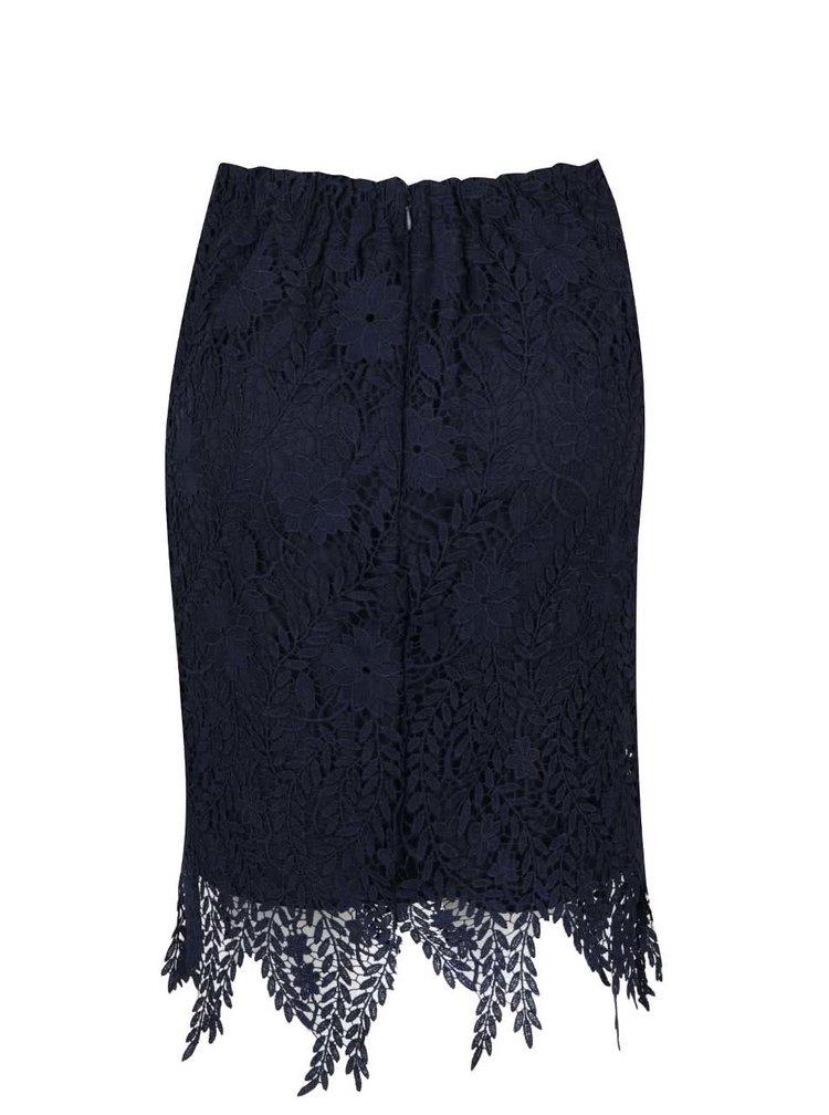 Tmavě modrá krajková sukně VERO MODA Flora