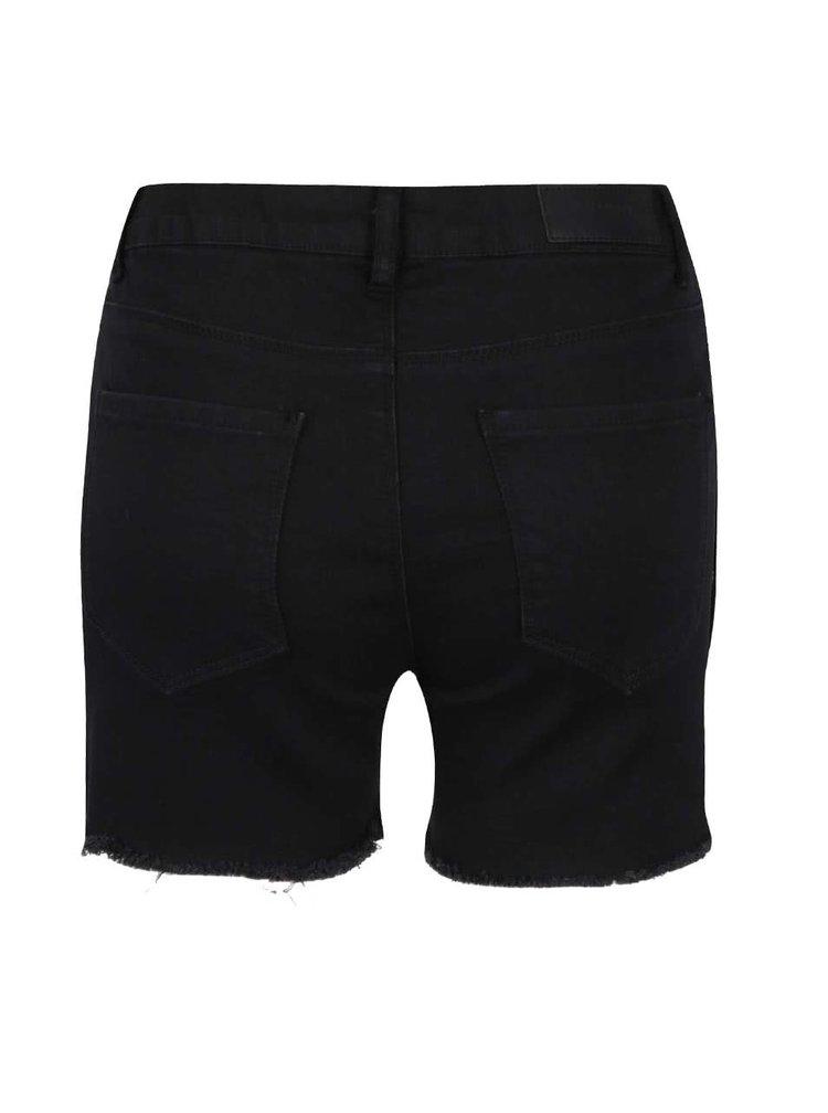 Pantaloni scurti din denim negri cu franjuri VERO MODA Be Seven