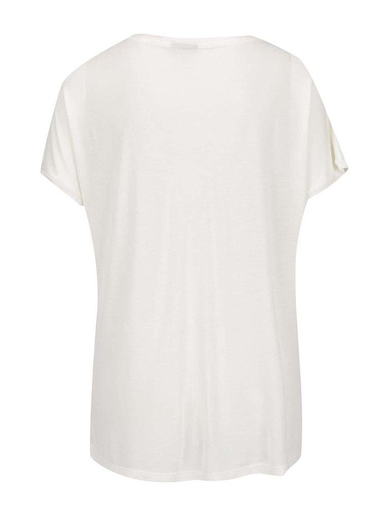 Tricou alb fildes VERO MODA Randi cu imprimeu text