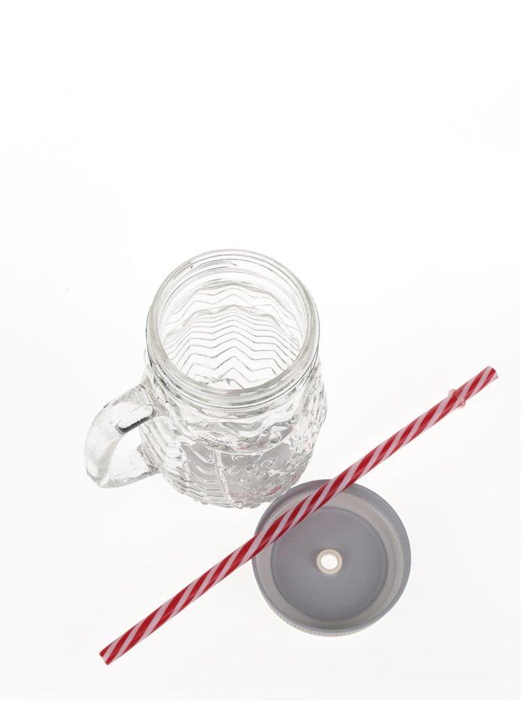Skleněný hrnek ve tvaru sovy s víčkem ve stříbrné barvě Dakls