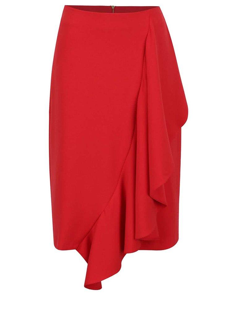 Červená sukně s volánem Closet
