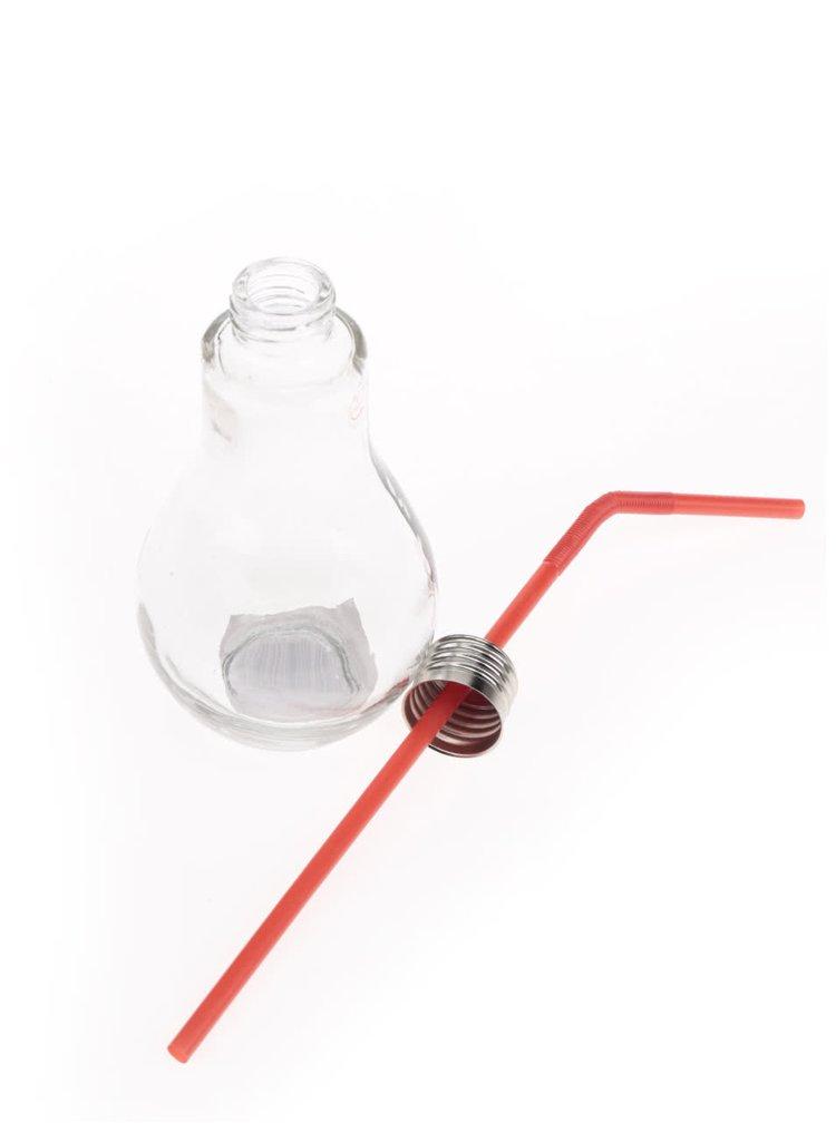 Malá sklenice s červeným brčkem ve tvaru žárovky Dakls