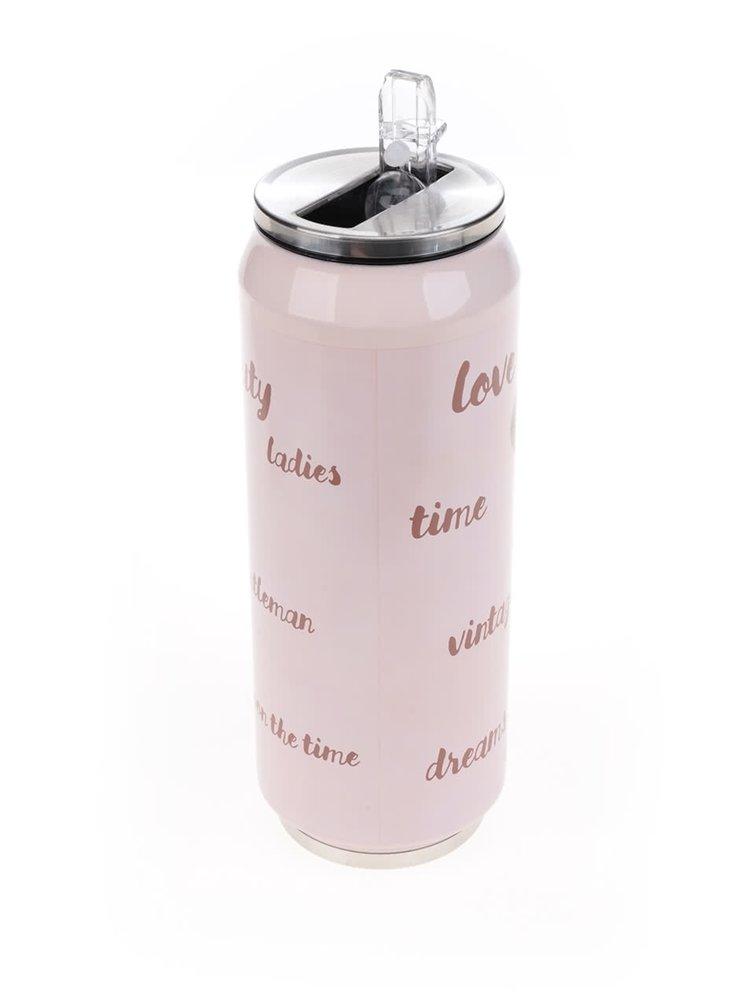 Růžová vzorovaná termoska Dakls