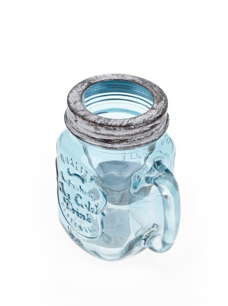 Suport pentru lumanare Dakls din sticla albastra