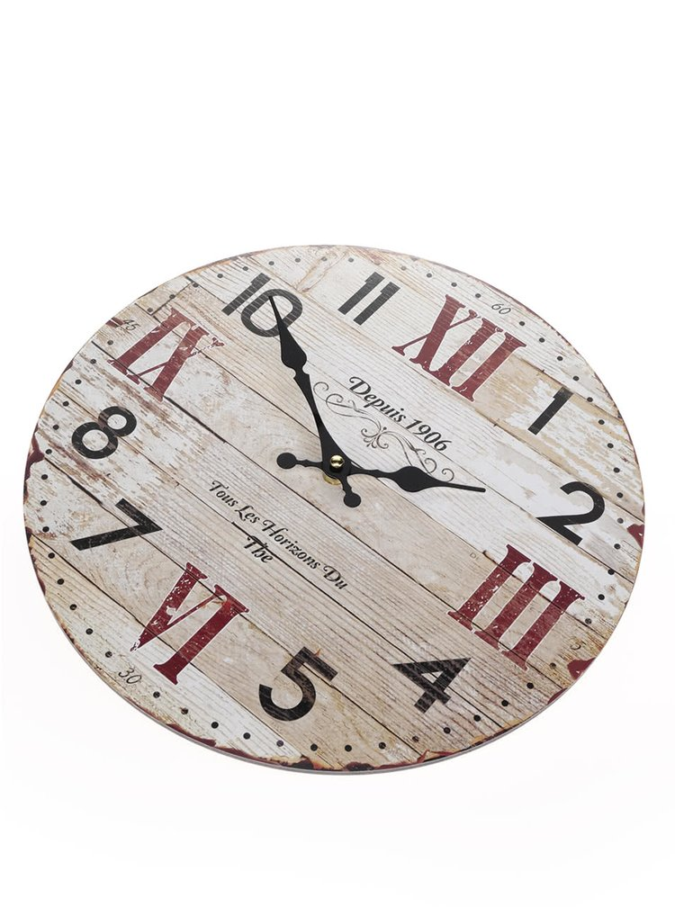 Ceas de perete crem Dakls din lemn