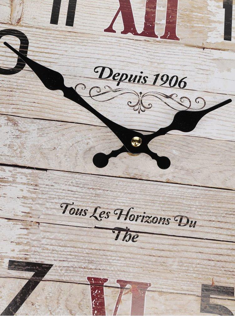 Krémovo-hnědé dřevěné hodiny Dakls