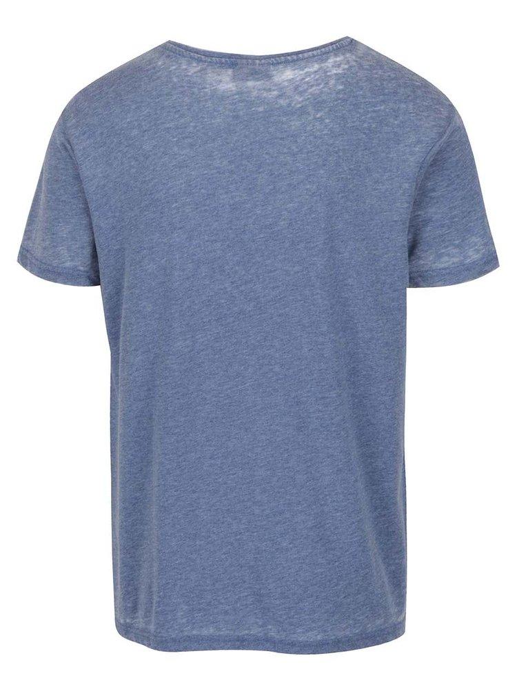 Tricou albastru Broadway Fulton cu imprimeu lateral