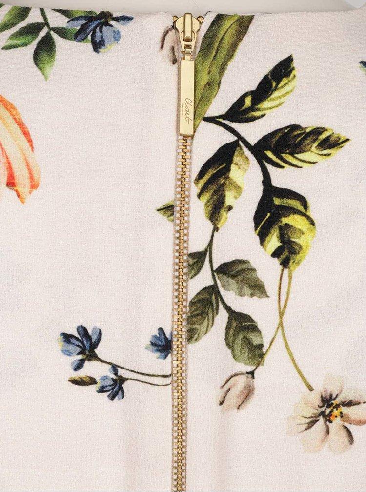 Béžové květované šaty s průstřihy na rukávech Closet