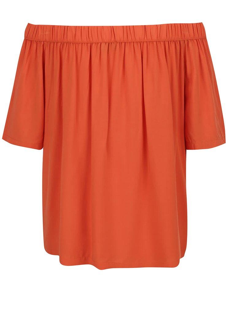 Bluza portocalie Broadway Eos cu decolteu pe umeri