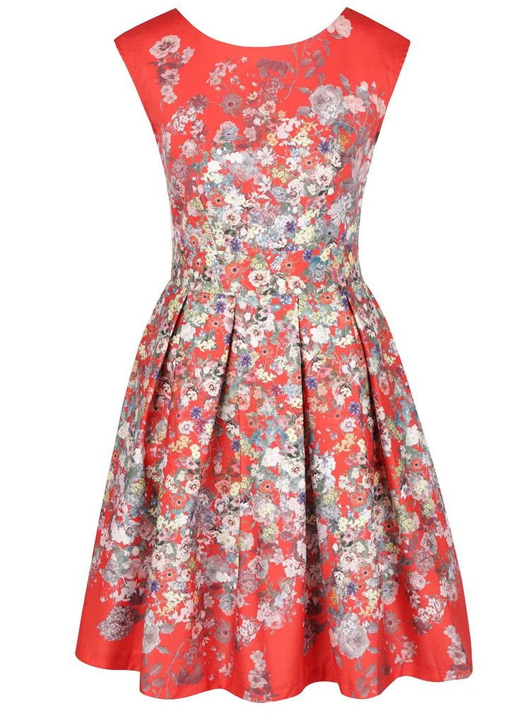 Červené květované šaty se zavazováním Closet