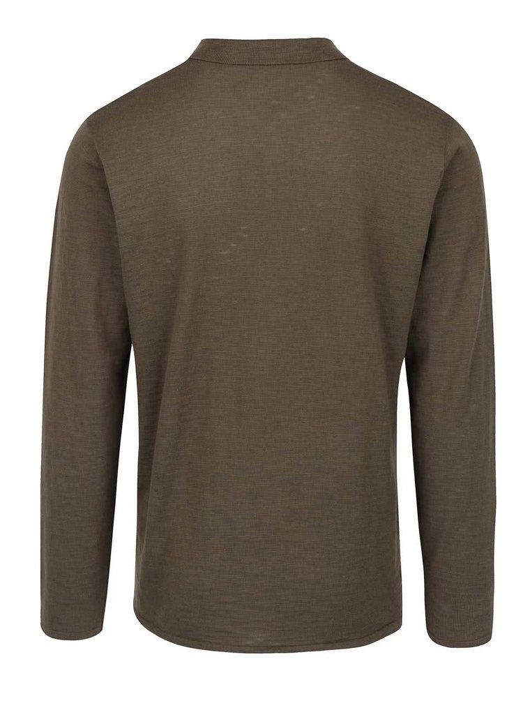 Tmavě zelené pánské polo triko s dlouhým rukávem Broadway Dash