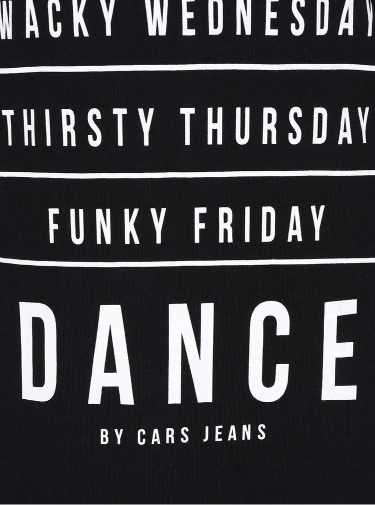 Bluză lungă neagră Cars Dance cu imprimeu text