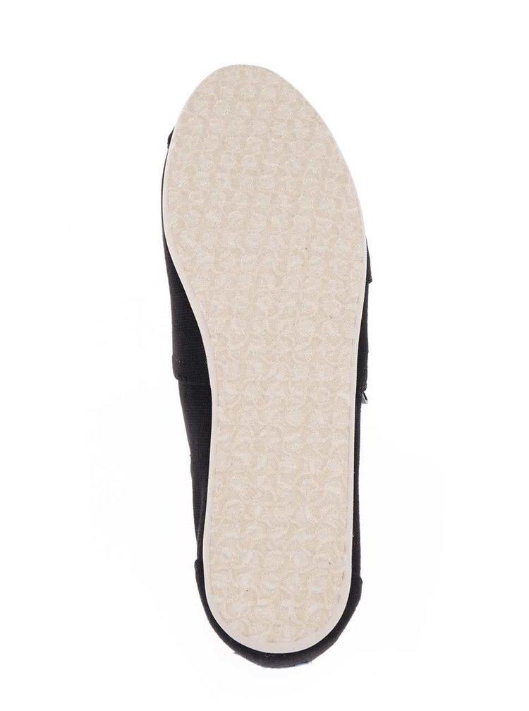 Černé dámské espadrilky s bílou podrážkou TOMS Canvas Classic
