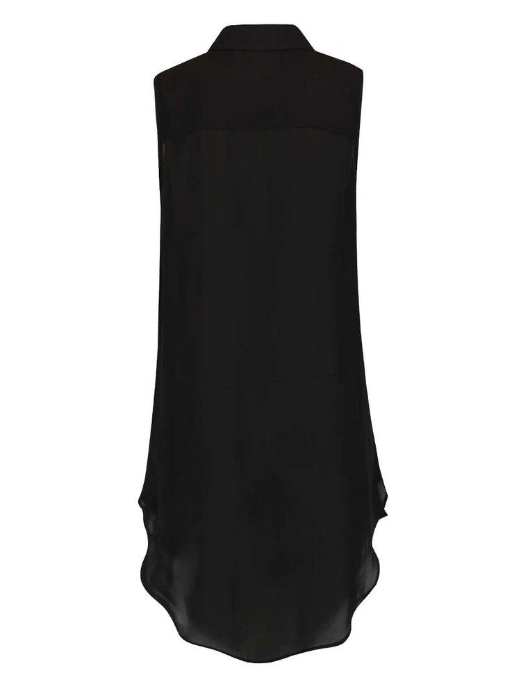 Černá dámská dlouhá průsvitná košile bez rukávů Broadway Docie