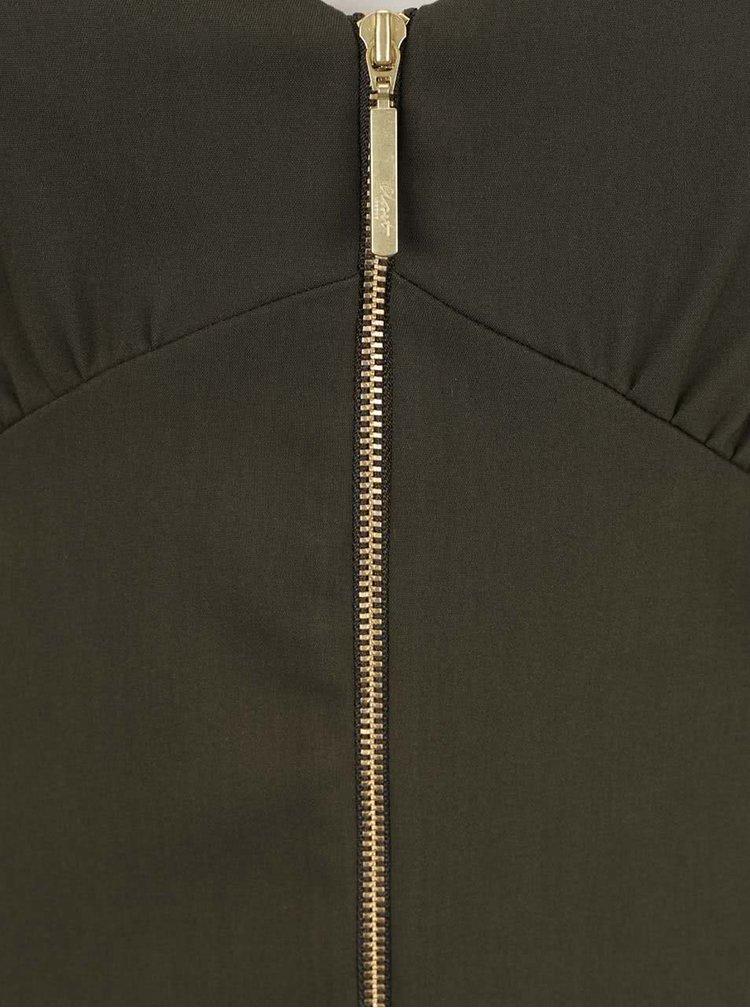 Khaki šaty na ramínka se zipem Closet