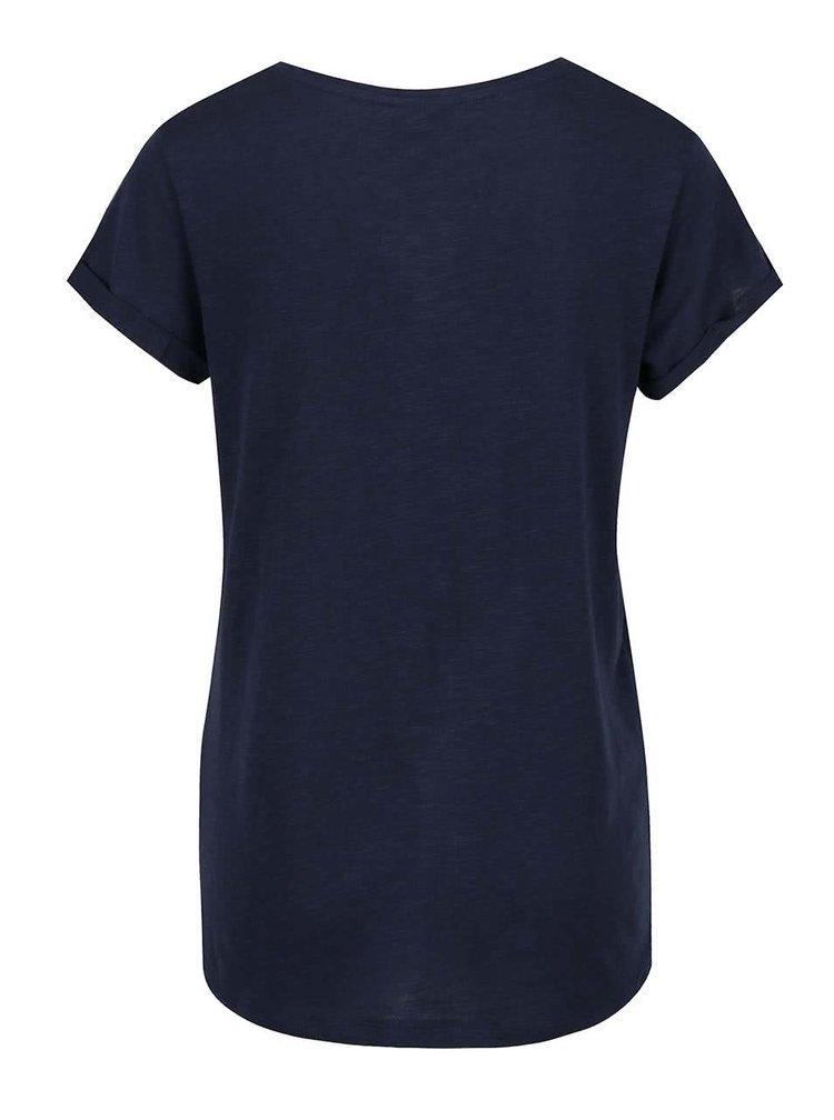 Tricou albastru închis Broadway Ebony cu print