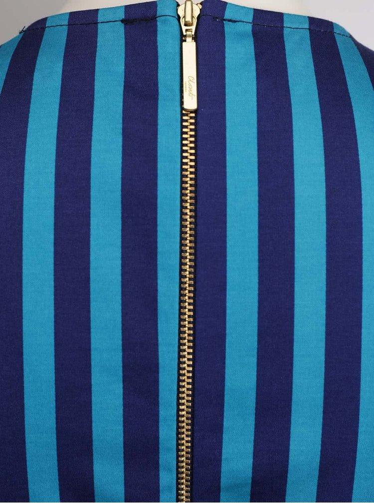 Tyrkysovo-modré pruhované šaty s překládaným výstřihem a páskem Closet