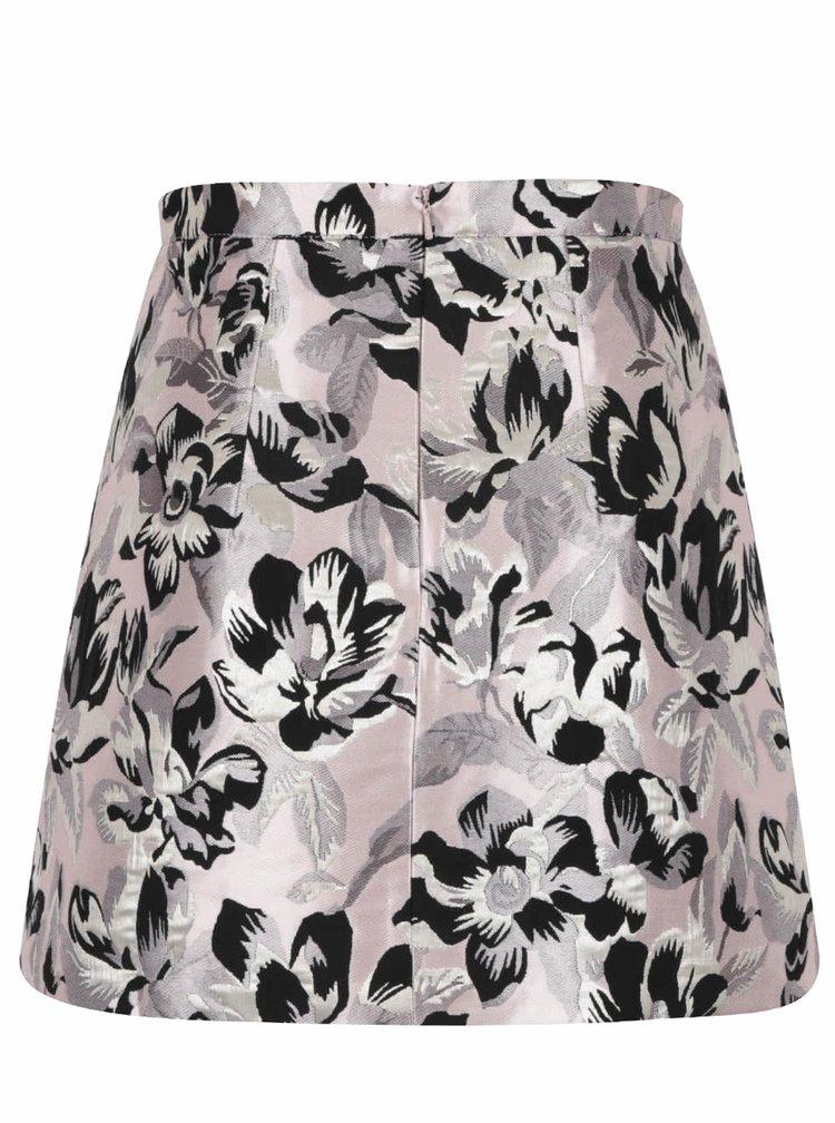 Růžová květovaná áčková sukně Miss Selfridge