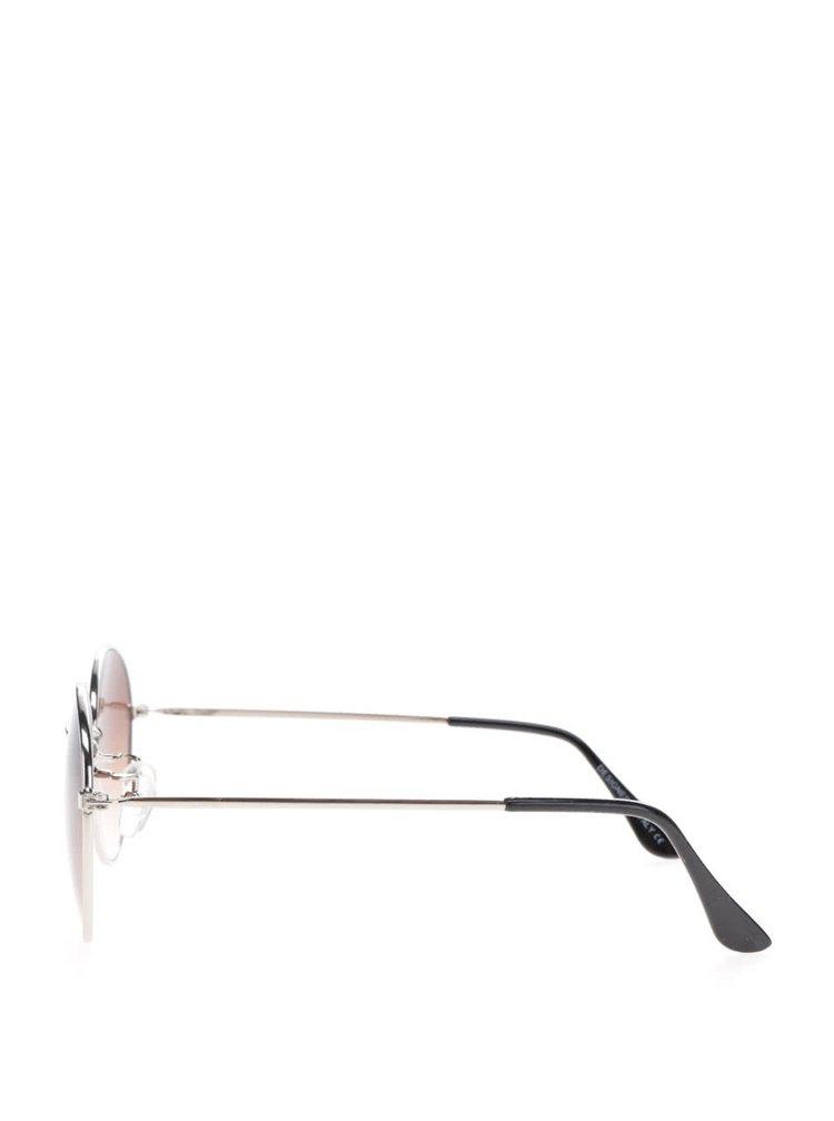Hnědé kulaté sluneční brýle s obroučkami ve sříbrné barvě Haily´s Rondie