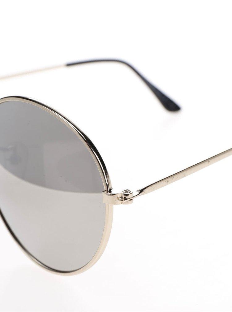 Šedé kulaté sluneční brýle s obroučkami ve zlaté barvě Haily´s Rondie
