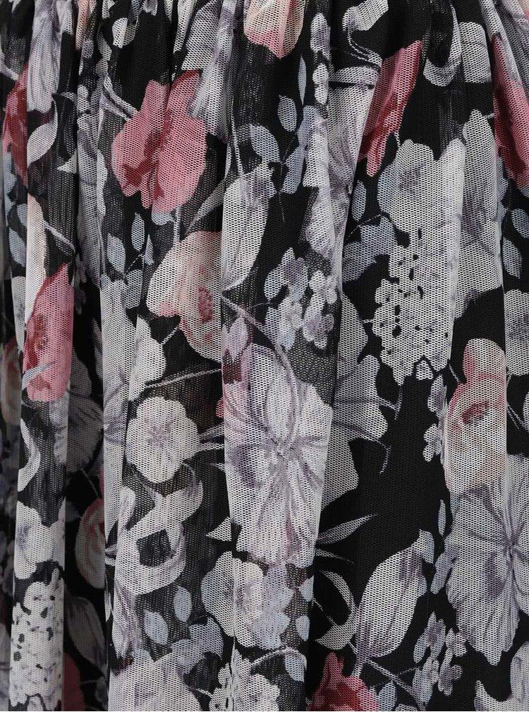 Krémovo-černá květovaná midisukně Miss Selfridge