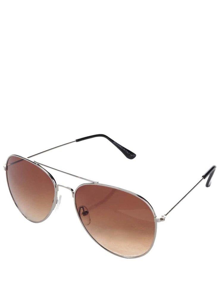 Hnědé sluneční brýle s obroučkami ve stříbrné barvě Haily´s Pilot