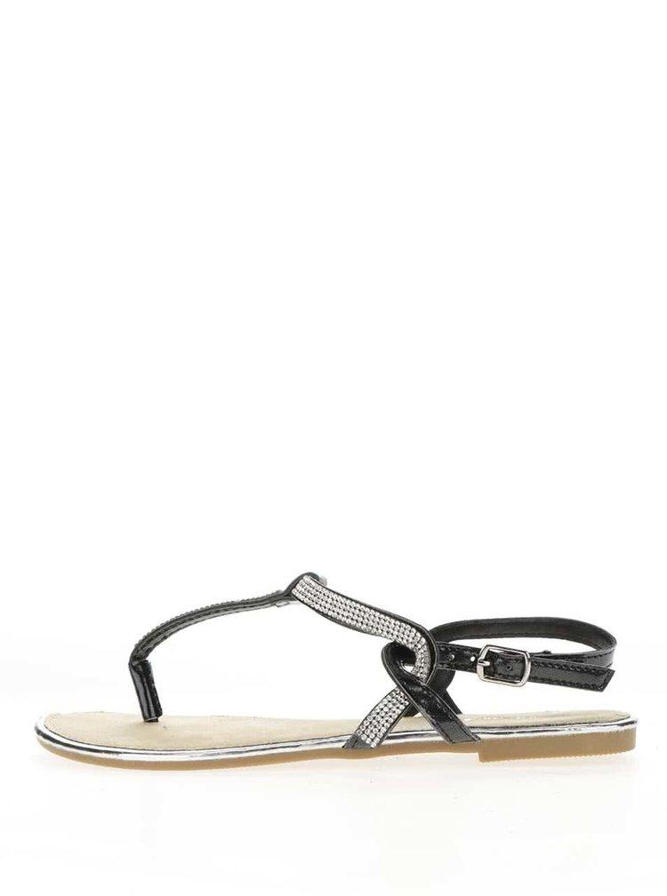 Černé sandály s třpytivou aplikací Haily's Sally