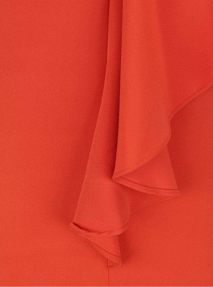 Rochie bodycon portocalie Miss Selfridge cu volan decorativ