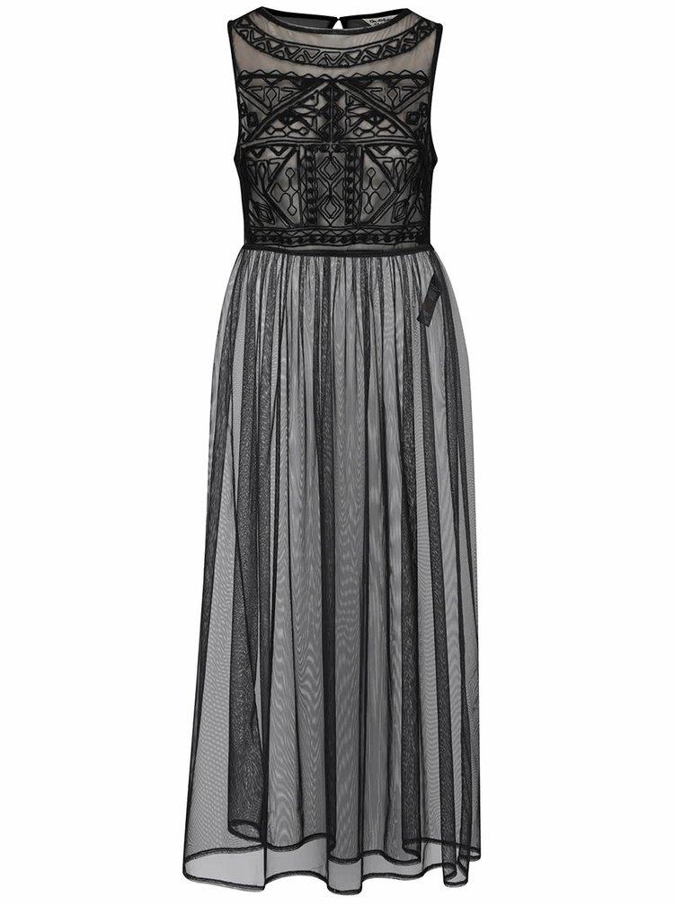 Černé průsvitné maxišaty s vyšívanými detaily Miss Selfridge