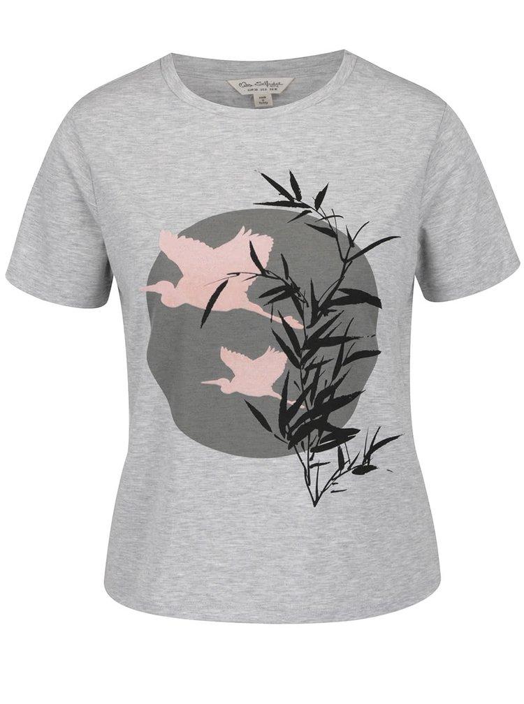 Světle šedé žíhané tričko s potiskem Miss Selfridge