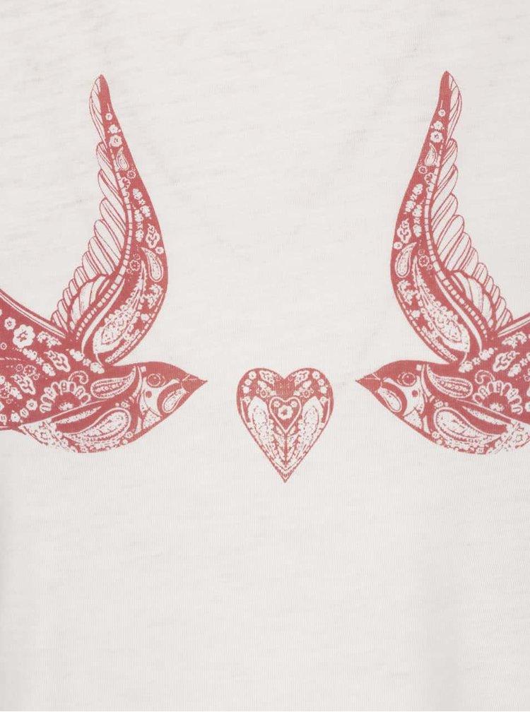 Krémové tričko s potiskem ptáčků Miss Selfridge