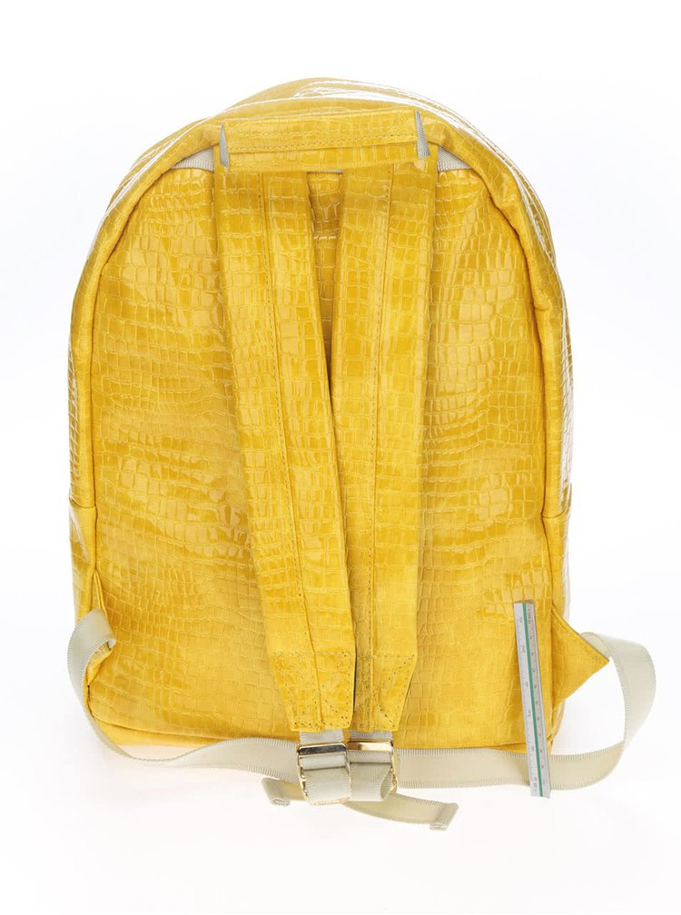 Rucsac galben Mi-Pac Patent python 17l cu aspect de piele de crocodil