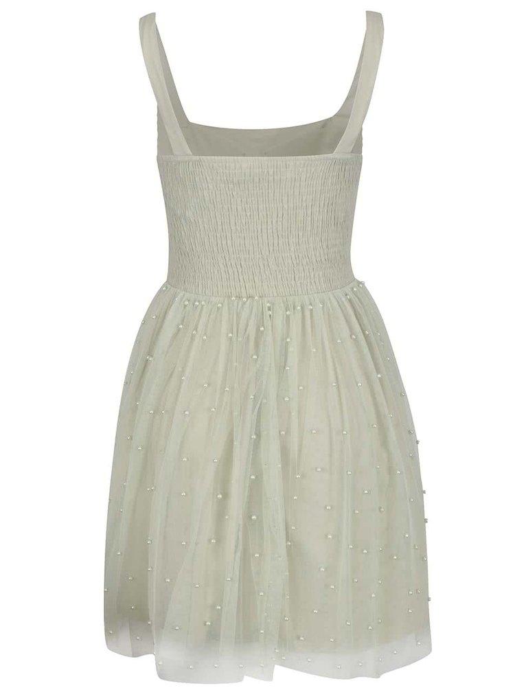 Světle zelené šaty s tylovou sukní a korálky Little Mistress