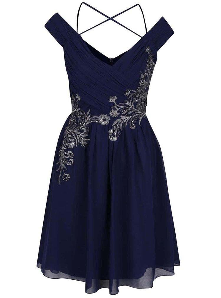 Tmavě modré šaty s výšivkou ve stříbrné barvě Little Mistress