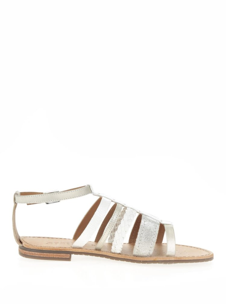 Sandale alb&argintiu din piele pentru femei Geox Sozy