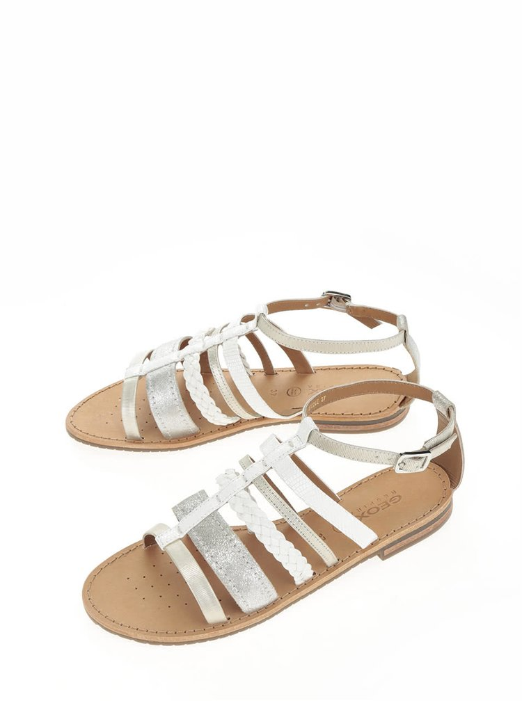 Krémové dámské kožené sandály s detaily ve stříbrné barvě Geox Sozy
