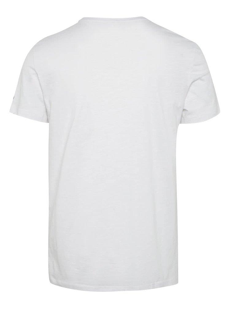 Tricou alb Blend cu buzunar pe piept