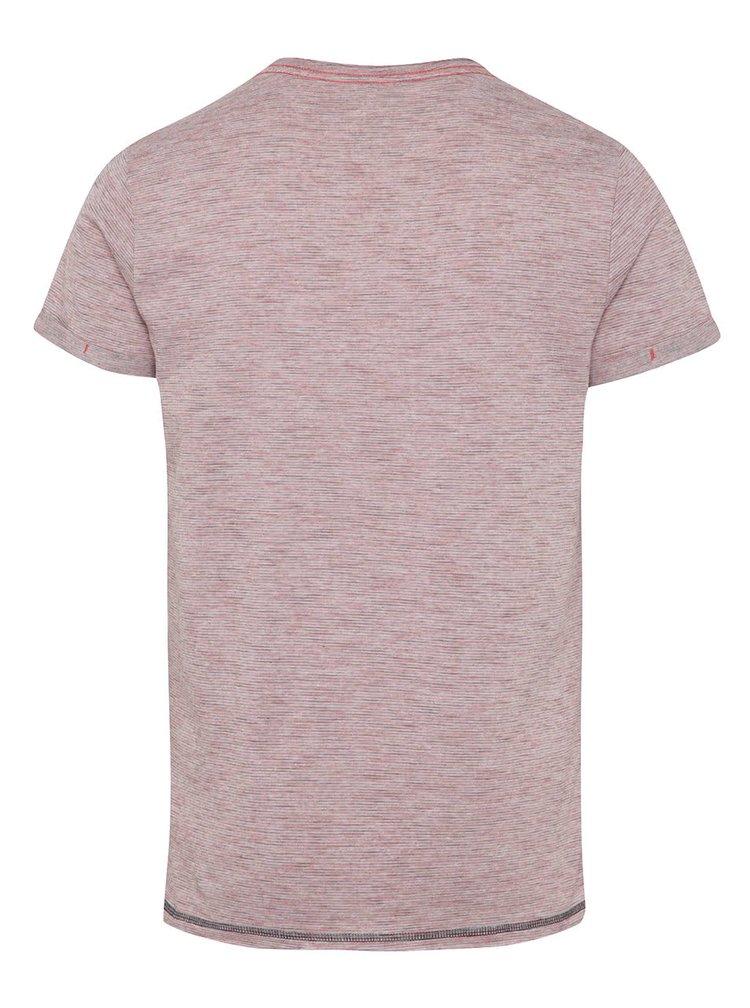 Tricou roz melanj Blend cu model în dungi mici