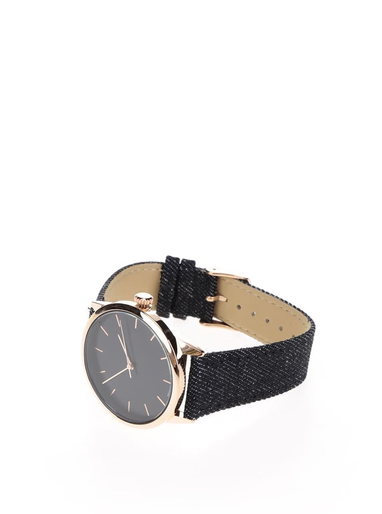 Dámské hodinky ve zlaté barvě s černým džínovým páskem CHPO Make Equal