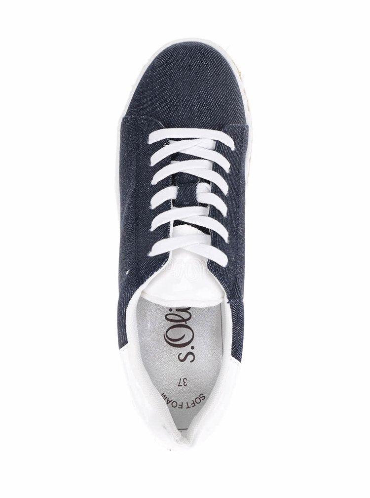 Modré dámské džínové tenisky na platformě s.Oliver